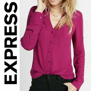 Tops - EXPRESS ESSENTIALS Pink Fitted Long Sleeve Shirt